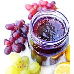 Easy Grape Jam in a jar with grapes Pinterest image