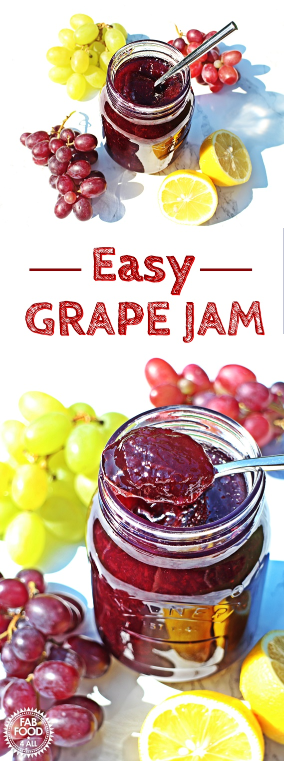 Easy Grape Jam - 3 ingredients & pectin free! Pinterest image.