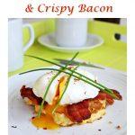 Soft Poached Egg, Sweetcorn Frittas & Crispy Bacon Pinterest image.