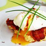Soft Poached Eggs, Sweetcorn Frittas and Crispy Bacon @FabFood4All #eggs #britisheggweek