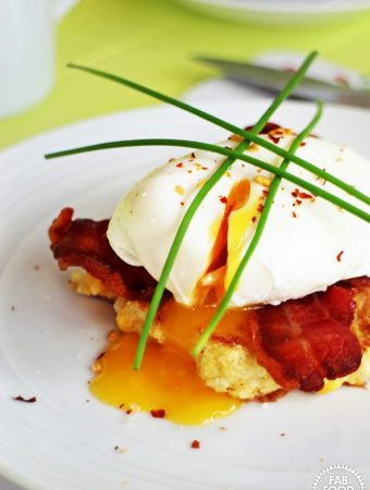 Soft Poached Eggs, Sweetcorn Frittas & Crispy Bacon