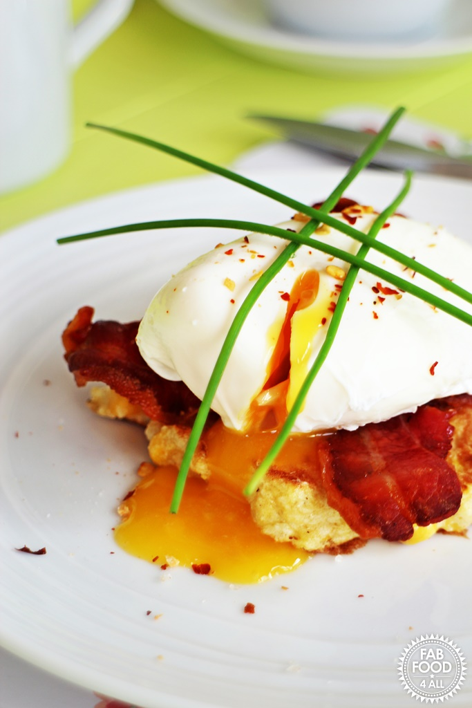 Soft Poached Eggs, Sweetcorn Frittas and Crispy Bacon @FabFood4All #eggs #britisheggweek