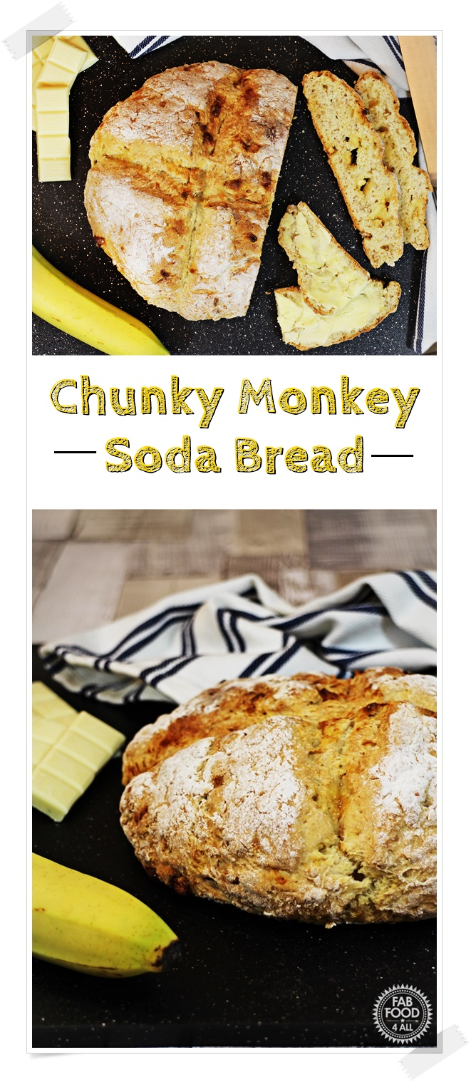 Chunky Monkey Soda Bread - Fab Food 4 All #banana #WhiteChocolate #bread #sodabread #baking #quick #easy