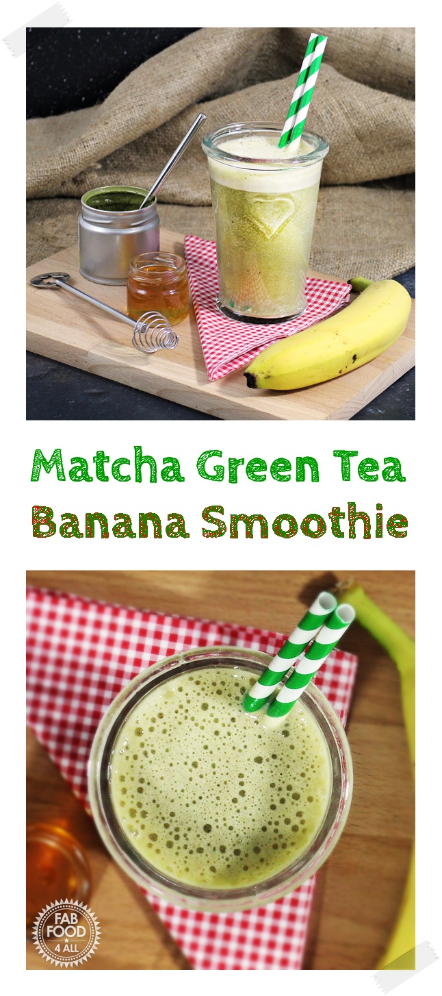 A healthy Matcha Green Tea Banana Smoothie using a2 Milk - Fab Food 4 All