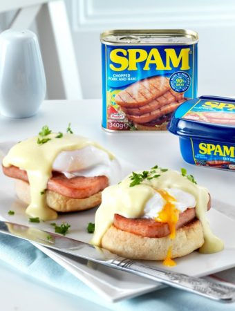 SPAM® Benedict with Mock Hollandaise Sauce & a Giveaway