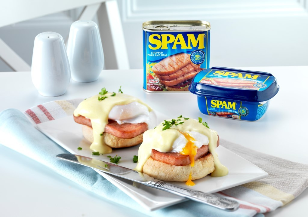 SPAM® Benedict with Mock Hollandaise Sauce - Fab Food 4 All