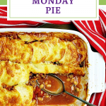 Monday Pie with serving spoon and portion missing. Pin image.