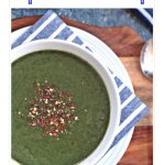 Quick Spinach Soup in a bowl. Pinterest Image