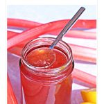 Simple Rhubarb & Gin Jam - made with forced rhubarb for a beautiful fresh flavour and glorious pale pink colour! Pinterest image
