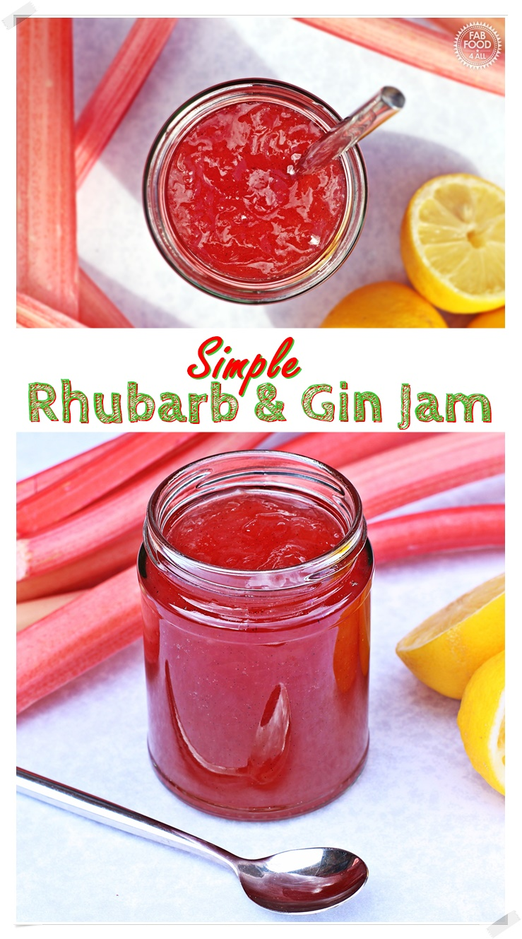 Simple Rhubarb & Gin Jam - made with forced rhubarb for a beautiful fresh flavour and glorious pale pink colour! Fab Food 4 All #rhubarb #forcedrhubarb #gin #jam #vanilla #lemon