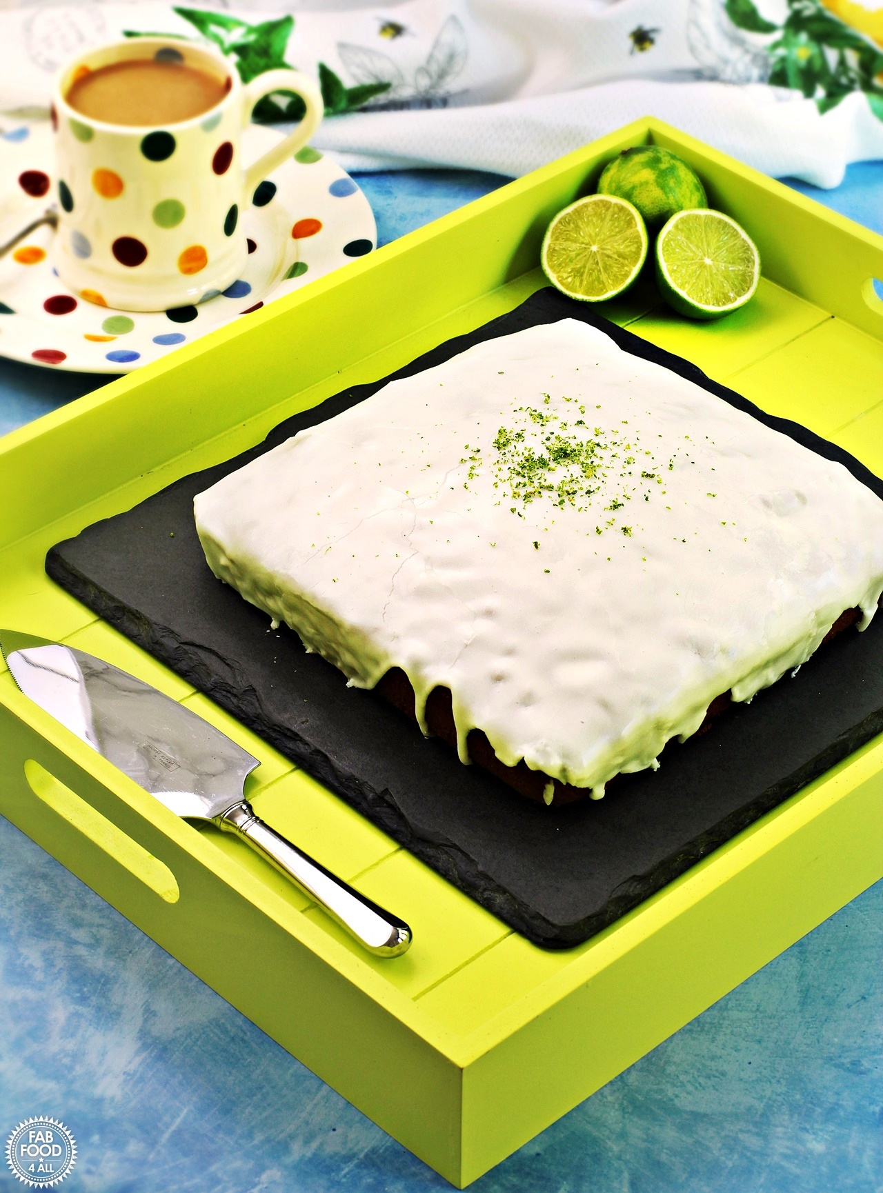 Easy Iced Lime Cake on a tray.