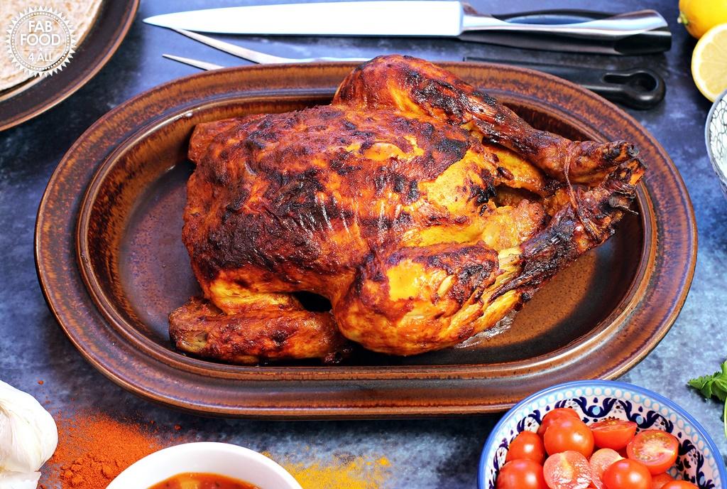 Indian Spiced Roast Chicken with Coriander & Mint Raita by Fab Food 4 All #chicken #curried #roast #chapatti #raita