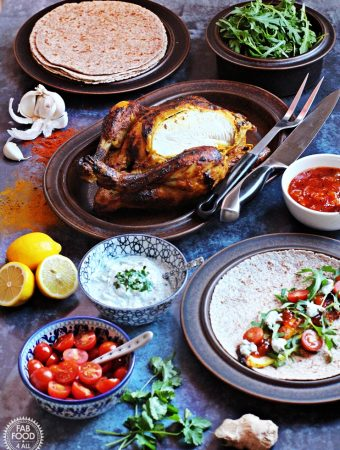 Indian Spiced Roast Chicken with Coriander & Mint Raita