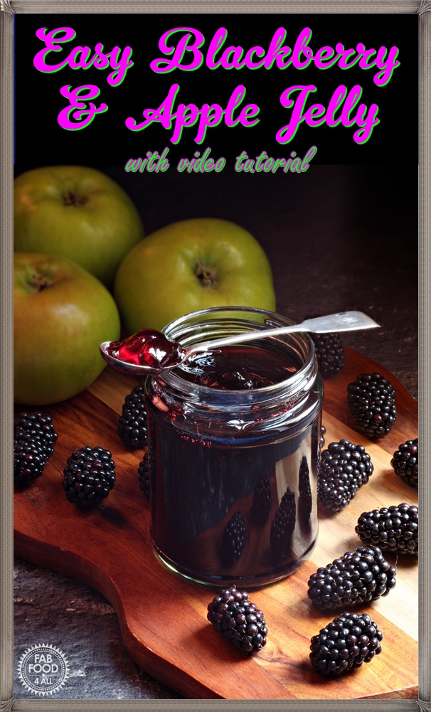 Easy Blackberry & Apple Jelly - Fab Food 4 All #jelly #blackberry #apple #Bramley #BrambleJelly #bramble #preserve #jammaking