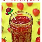 Quick One Punnet Strawberry Jam in jar with teaspoon - Pinterest image.