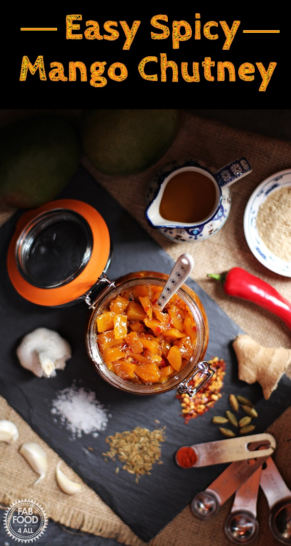 This Easy Spicy Mango Chutney is a fusion of beautiful sweet mango, Indian spices, ginger, garlic and red chilli. Bursting with flavour and the perfect accompaniment to curries, cold meats and cheese – this delicious mango chutney really packs a punch! #mango #chutney #spicy #preserve #chilli #Indian #pickle