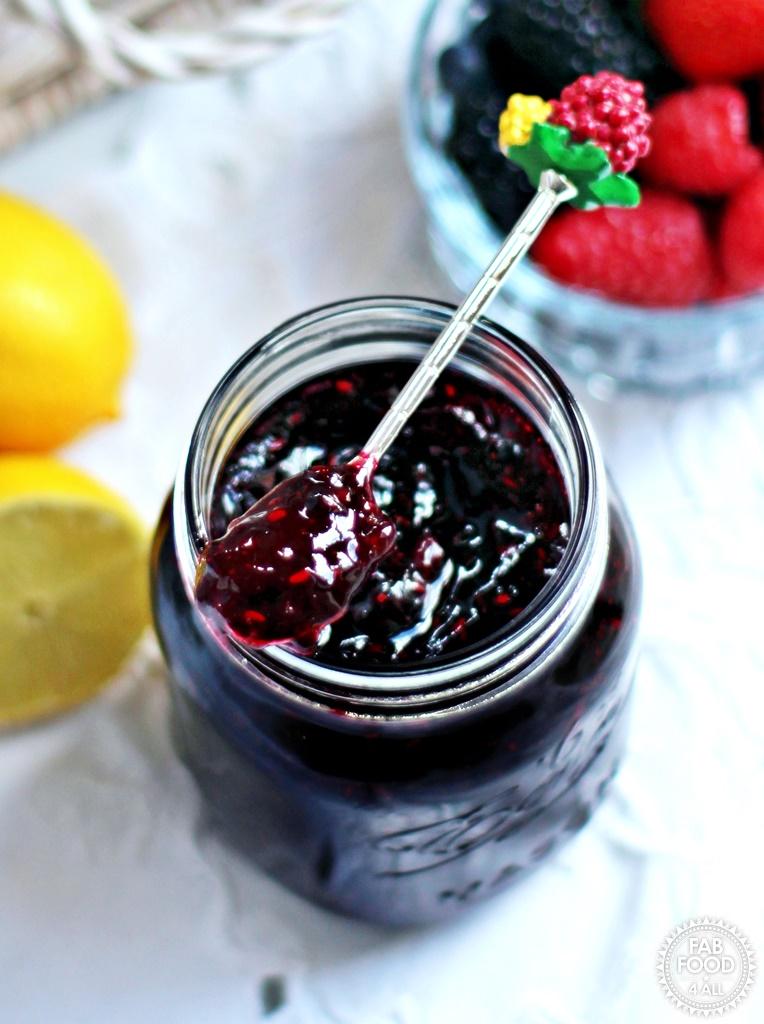Tutti Frutti Jam with strawberries, blackberries, blueberries, raspberries & lemon.