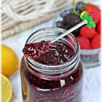 Tutti Frutti Jam with strawberries, blackberries, blueberries, raspberries & lemon.. No pectin recipe. Fab Food 4 All #jam #TuttiFrutti #canning #strawberry #blackberry #blueberry #raspberry