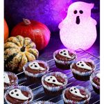 Easy Halloween Ghost Cupcakes on a baking try - Pinterest Image.