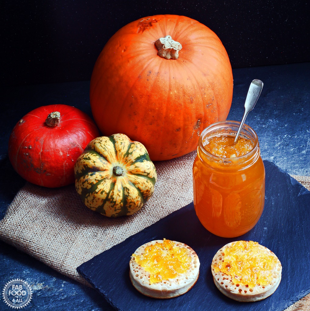 Pumpkin & Ginger Jam with crumpets and pumpkins.