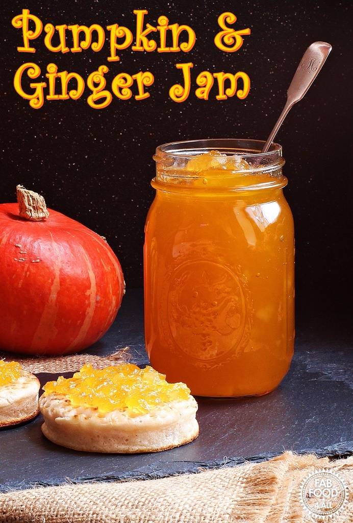 Pumpkin & Ginger Jam is a delicious way to preserve you Halloween pumpkin. With a taste similar to marmalade this is the perfect jam to have at breakfast time! #pumpkin #jam #jackolantern #foodwaste #NoPectin #preserve #fall #squash #conserve #jammaking #jamrecipe #recipe #ginger #lemon