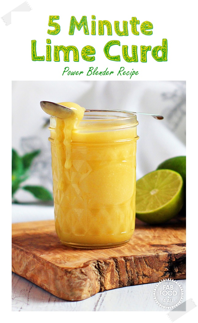 5 Minute Lime Curd - tangy & delicious. Made in the KitchenAid Power Plus Blender for super fast results! #KitchenAid #KitchenAidPowerPlusBlender #recipe #lime #curd #LimeCurd #preserve #canning #fruitcurd
