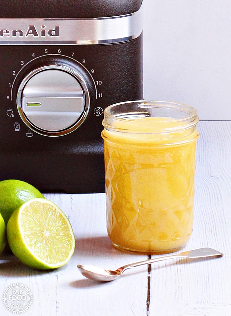 5 Minute Lime Curd - tangy & delicious. Made in a power blender for super fast results! #KitchenAid #KitchenAidPowerPlusBlender #recipe #lime #curd #LimeCurd #preserve #canning #fruitcurd