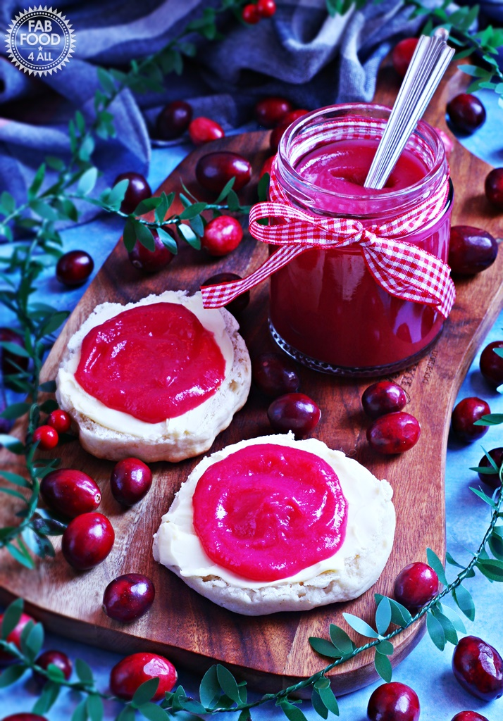 Easy Cranberry Curd with gift bow, served on scones!