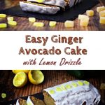 Easy Ginger Avocado Cake with Lemon Drizzle - made with wholemeal spelt flour! Delicious, moist and packed full of fibre and nutrients!. #avocado #avocadocake #gingercake #speltcake #wholemealspeltflour #cake #cakerecipes #avocadorecipes #gingerrecipes #speltrecipes #avocadoloaf #avocadobread #gingerloaf #gingerbread #easycake #easyrecipe