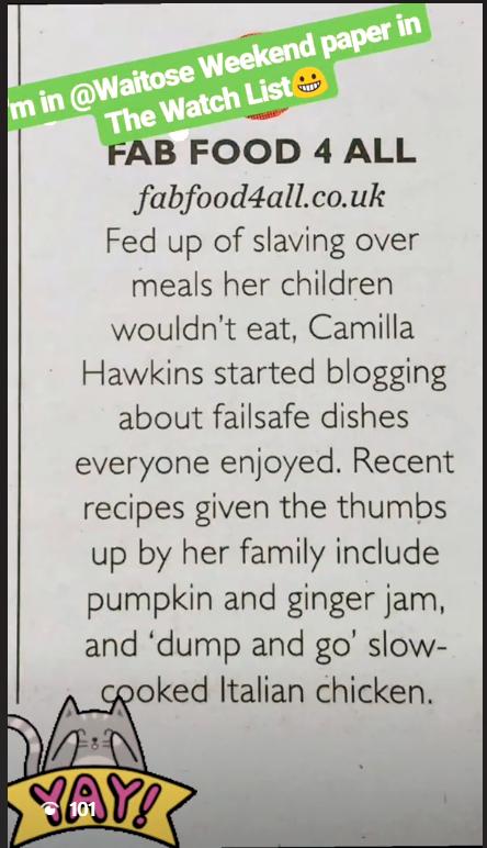 Waitrose Weekend featuring Fab Food 4 All