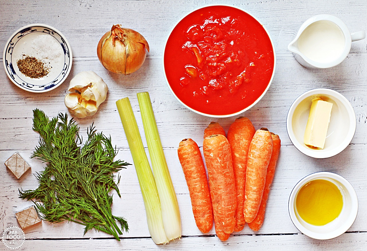 Tomato, Carrot and Dill Soup ingredients - tinned tomatoes, carrots, dill, onion, celery, garlic, butter, olive oil, single cream, vegetable stock cubes, salt and pepper.