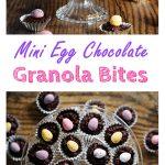Mini Egg Chocolate Granola Bites in petit four cases on glass pedestal.