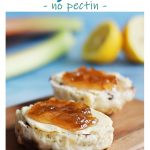 Rhubarb & Ginger Jam on scones - Pinterest image.