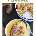 Rhubarb Pudding with custard overhead shot. Pin image.