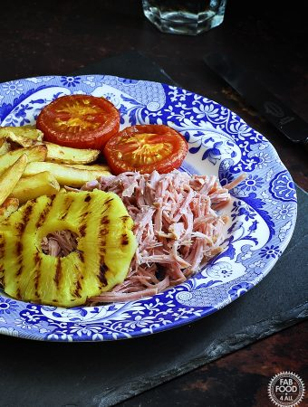 2 Ingredient Slow Cooker Pulled Gammon (Shredded Ham) with fried pineapple, chips & tomato.