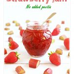 Rhubarb & Strawberry Jam in a jar Pinterest image.