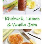 Rhubarb, Lemon & Vanilla Jam Pinterest image.