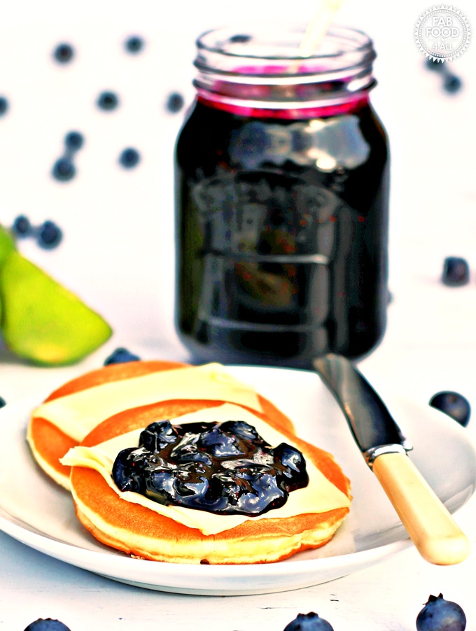 Blueberry & Lime Jam with a plate of scotch pancakes.