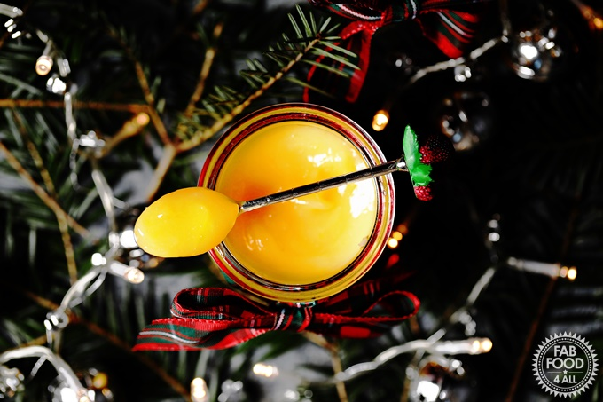 Flatlay shot of Eggnog Curd with teaspoon, Christmas tree branches & fairy lights.