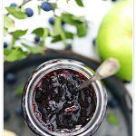 Sloe & Apple Jam in a jar aerial shot - Pinterest image.