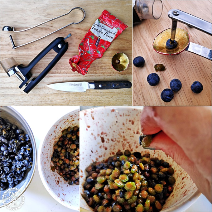 Montage of ways to pit sloes. showing adapted cherry pitter and finger & thumb