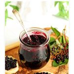 Simple Elderberry Jam in jar pinterest image.