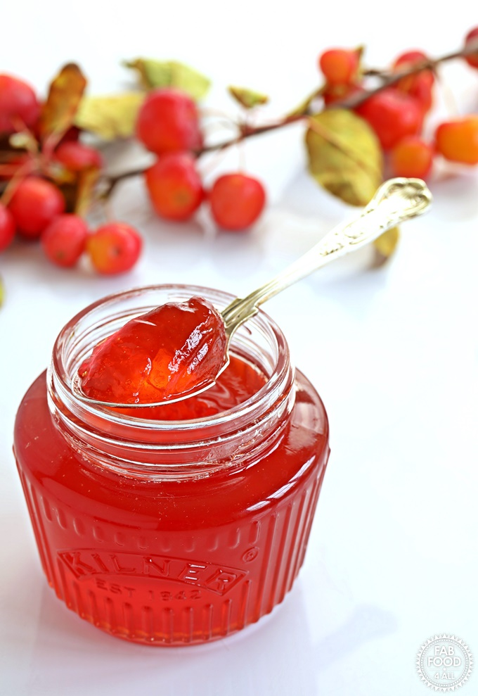 Side shot of Crab Apple Jelly in a jar with spoon resting on top.