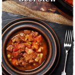Easy Slow Cooker Beef Stew Pinterest image.