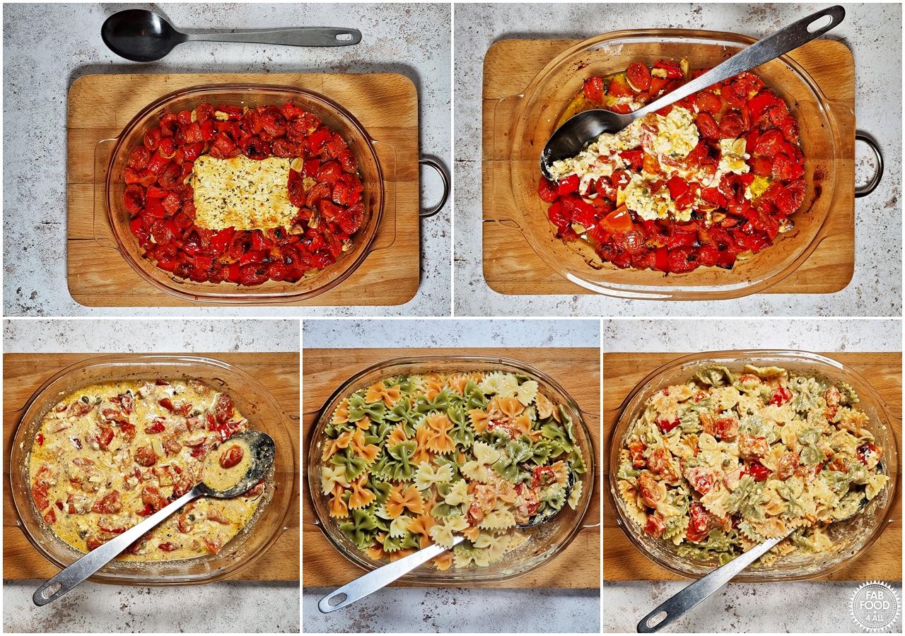Steps 1 - 5 of Best Baked Feta Pasta Recipe.