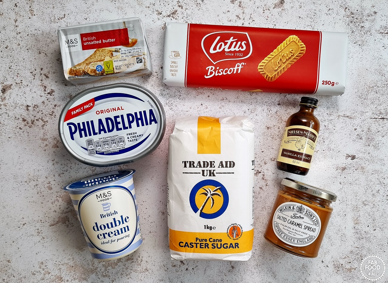 Ingredients for Salted Caramel Cheesecake
