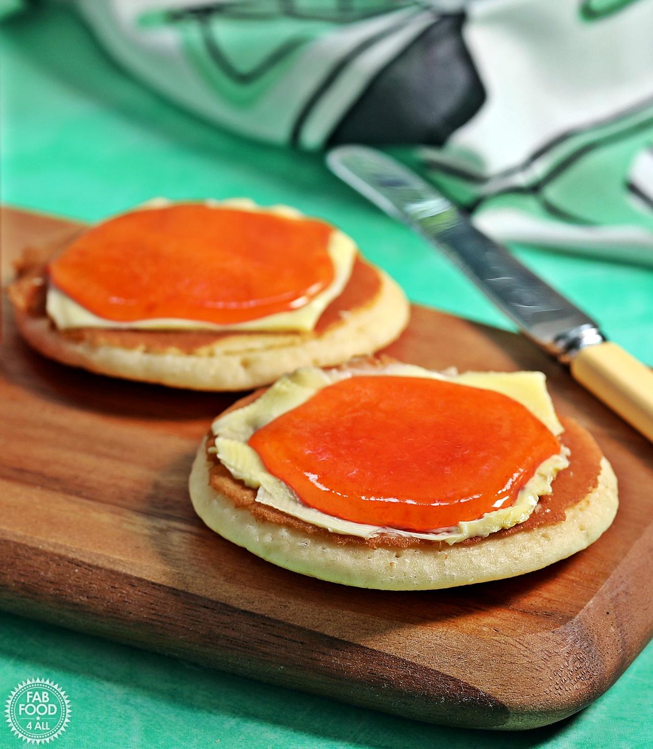 Watermelon Jam on Scotch Pancakes.